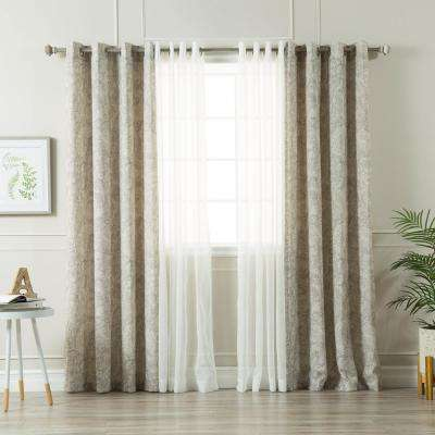Grey 84 in. L uMIXm Sheer Faux Linen and Paisley Curtain (4-Pack)