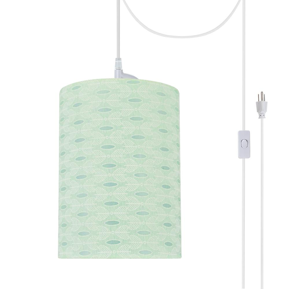 Aspen Creative Corporation 1 Light White Plug In Swag Pendant With Light Green Hardback Drum Fabric Shade 71032 21 The Home Depot