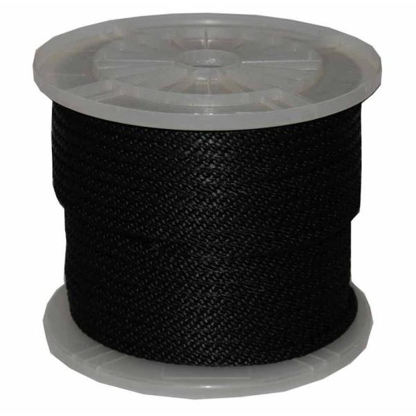 3/8 in. x 300 ft. Solid Braid Multi-Filament Polypropylene Derby Rope in Black