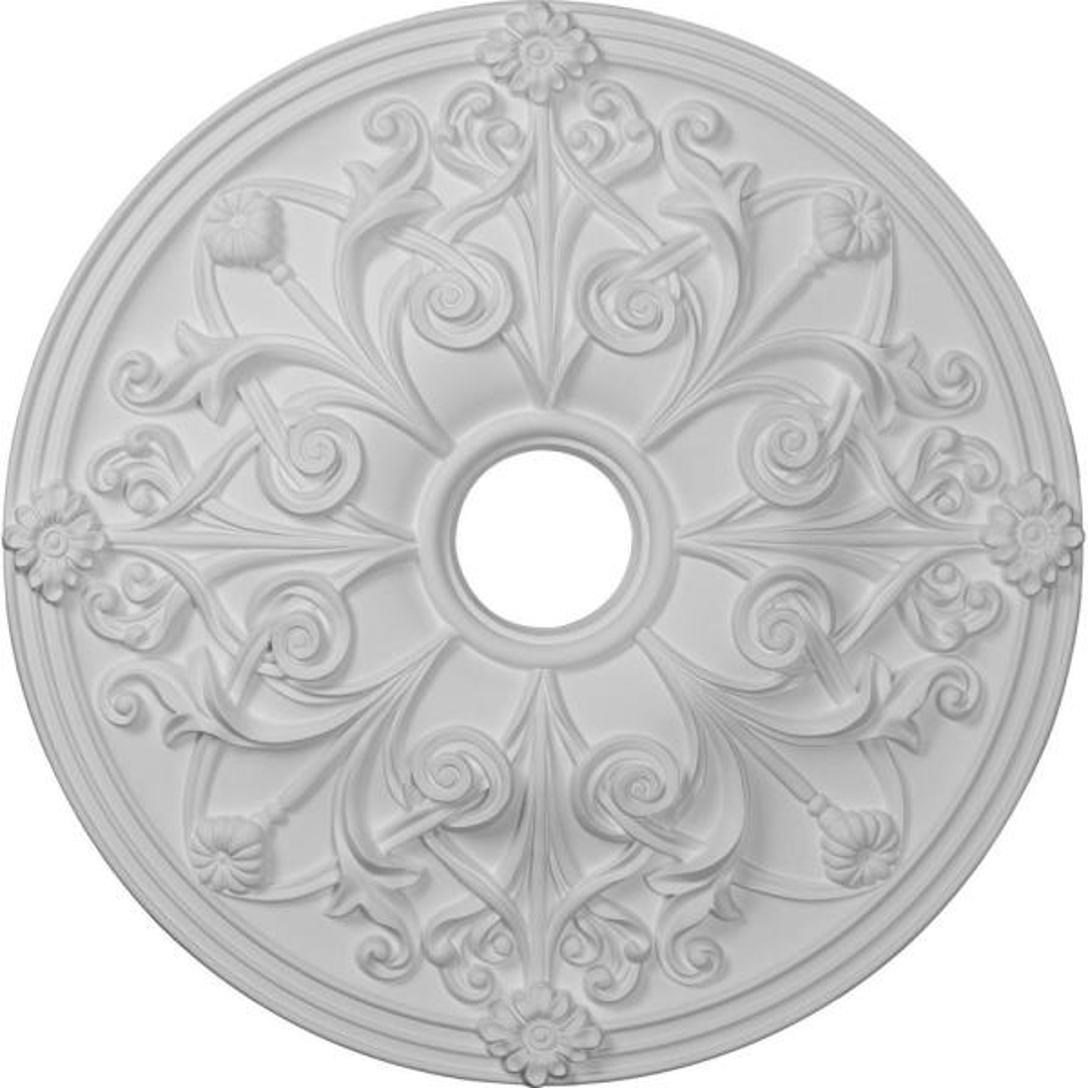 23-5/8'' x 3-7/8'' ID x 2-1/8'' Jamie Urethane Ceiling Medallion (Fits Canopies upto 3-7/8''), Primed White