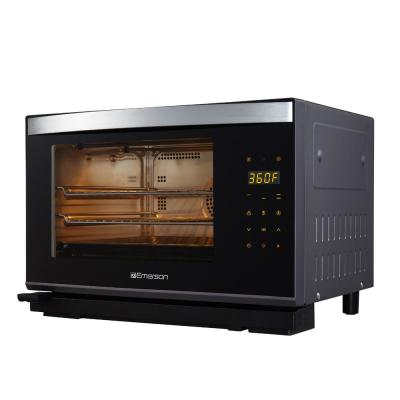 Emerson-Deluxe 1600 W 6-Slice Black Stainless Steel Convection Toaster Oven