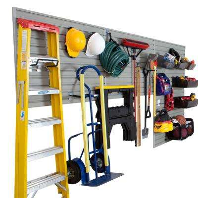Modular Garage and Hardware Wall Storage Set with Accessories in Silver (26-Piece)