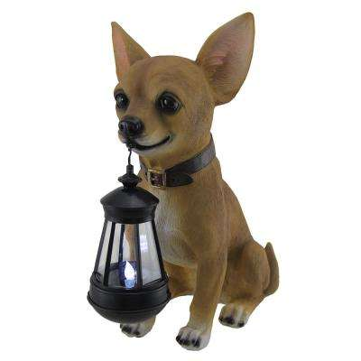 Little Light Keeper Chihuahua Garden Statue And LED Lantern