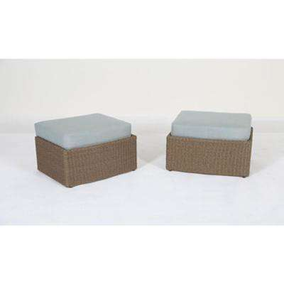 Braylen Aluminum Outdoor Ottoman with Sunbrella Mist Blue Cushion