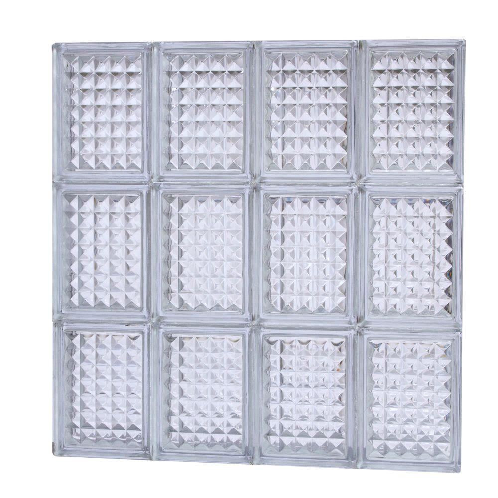TAFCO WINDOWS 23.25 in. x 23.25 in. Diamond Pattern Glass Block Window