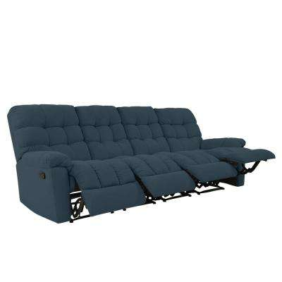 4-Seat Tufted Recliner Sofa in Caribbean Blue Plush Low-Pile Velvet