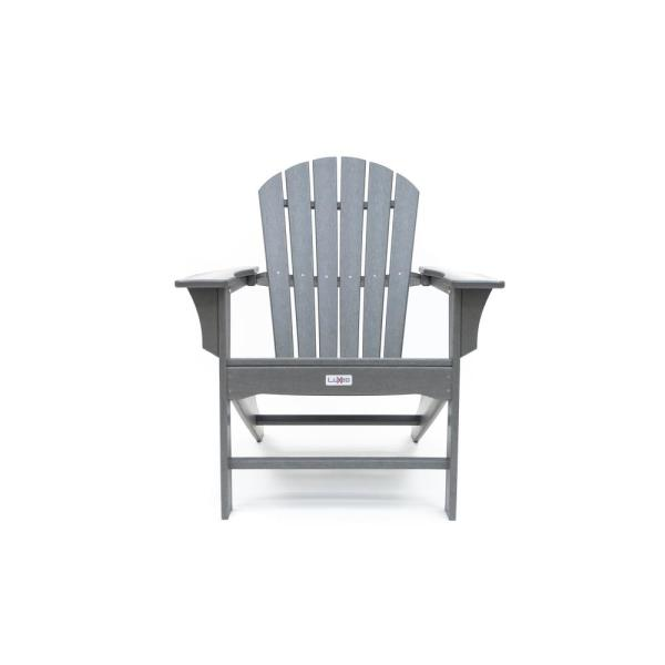 Hampton Gray Poly Outdoor Patio Plastic Adirondack Chair
