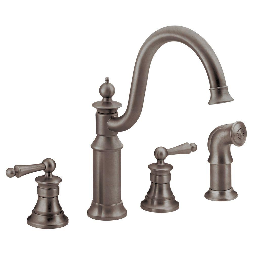 2 handle kitchen faucet moen waterhill high arc 2 handle standard kitchen faucet with side sprayer in oil rubbed bronze 4924