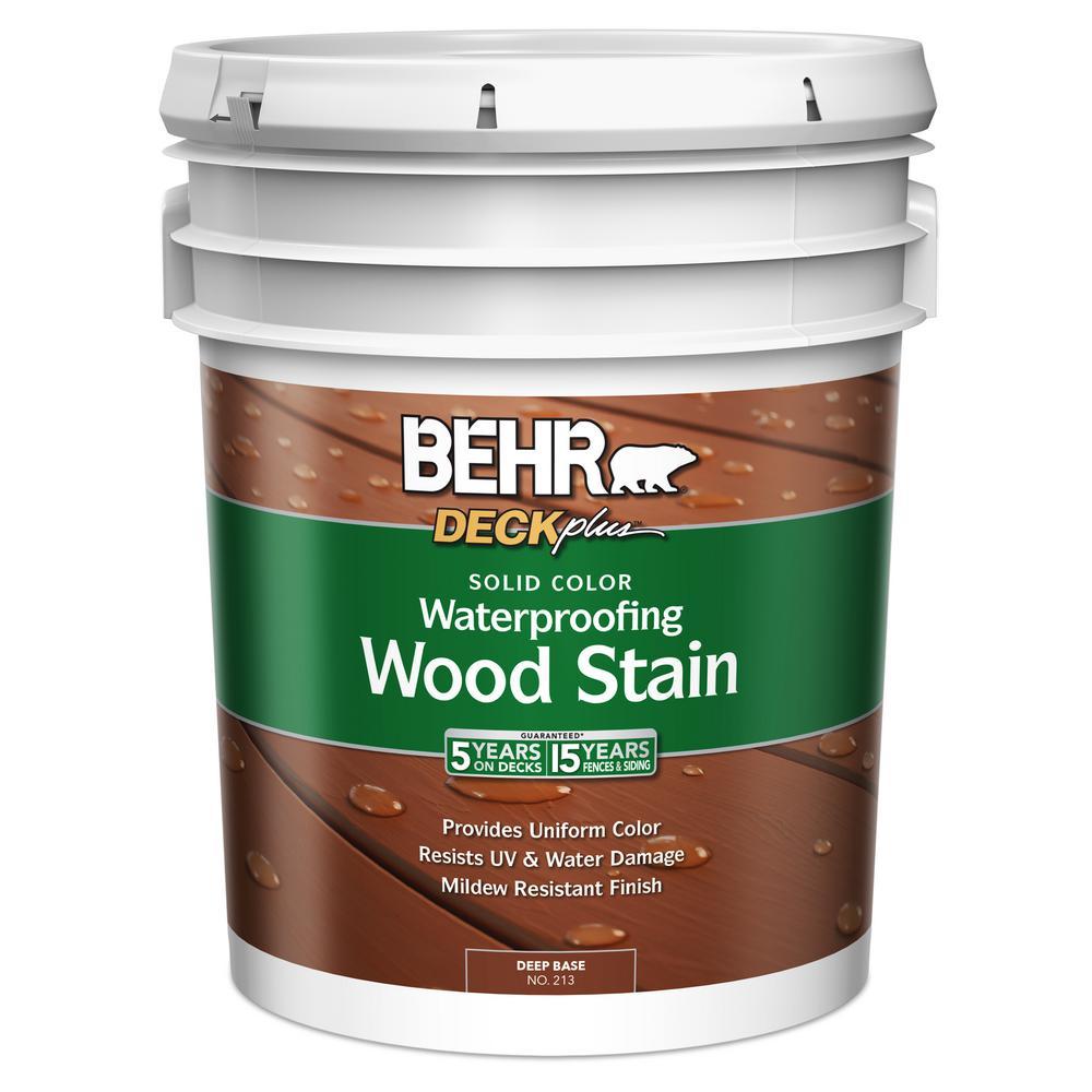 BEHR DECKplus 5 gal. Deep Base Solid Color Waterproofing Wood Stain