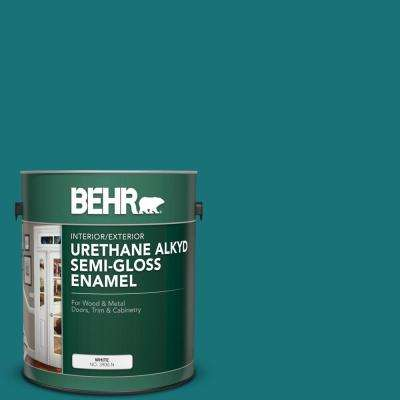 1 gal. #T15-3 Essential Teal Urethane Alkyd Semi-Gloss Enamel Interior/Exterior Paint