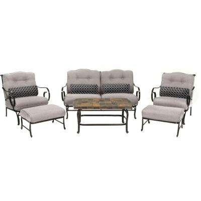 Oceana 6-Piece Patio Seating Set with a Stone-Top Coffee Table and Silver Lining Cushions