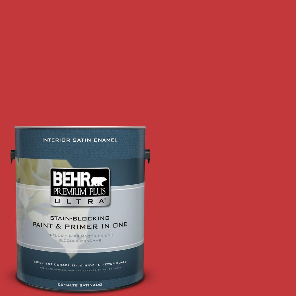 BEHR Premium Plus Ultra 1-gal. #150B-7 Poinsettia Satin Enamel Interior Paint