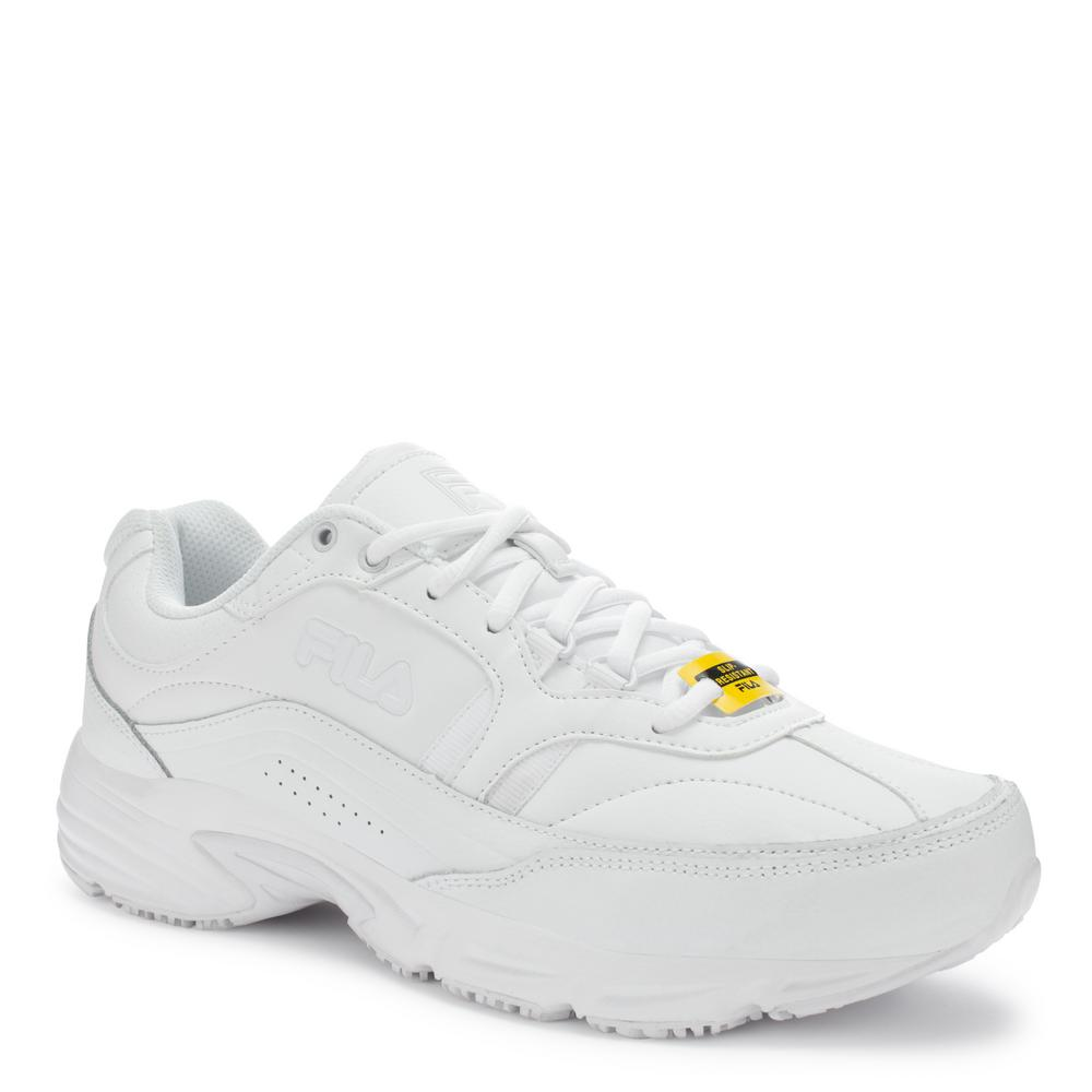 ed710f482481 Memory Workshift Men Size 9 Wide White Leather Synthetic Soft Toe Work Shoe