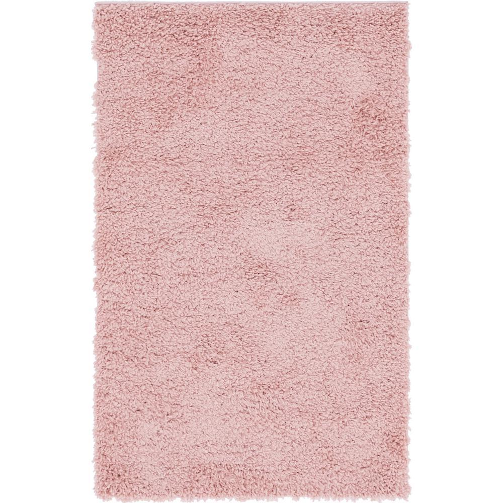 Unique Loom Davos Shag Dusty Rose Pink 3 ft. x 5 ft. Area Rug