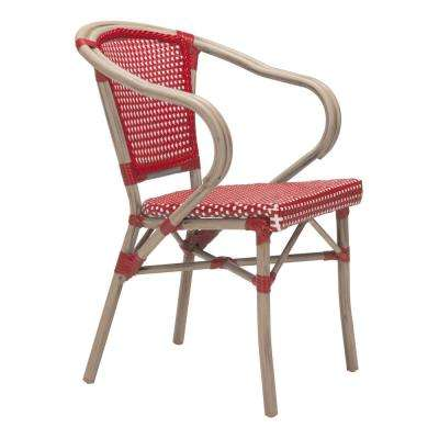 Paris Metal Outdoor Patio Dining Chair in Red and White (Pack of 2)