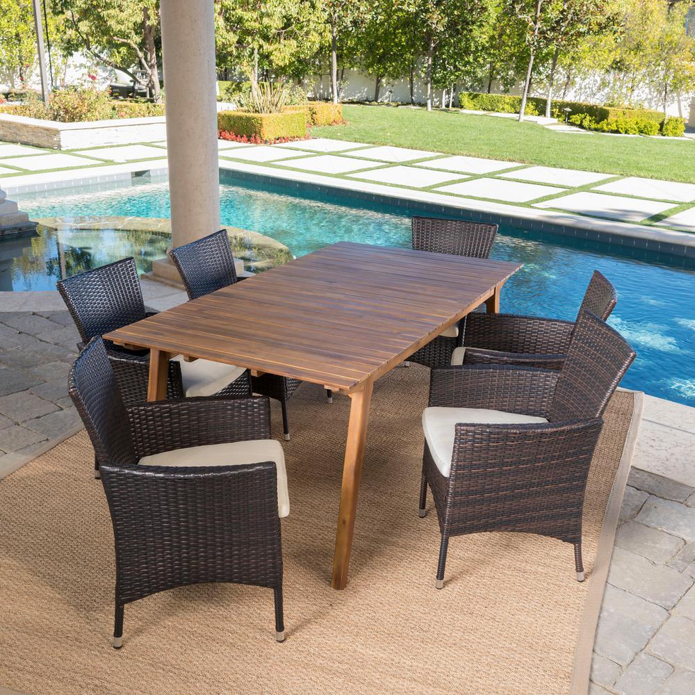 Saba Teak Brown 7-Piece Wood Outdoor Dining Set with Beige Cushions