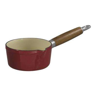 3/4 Qt. Enameled Red Cast Iron Sauce Pan with Spout and Wood Handle