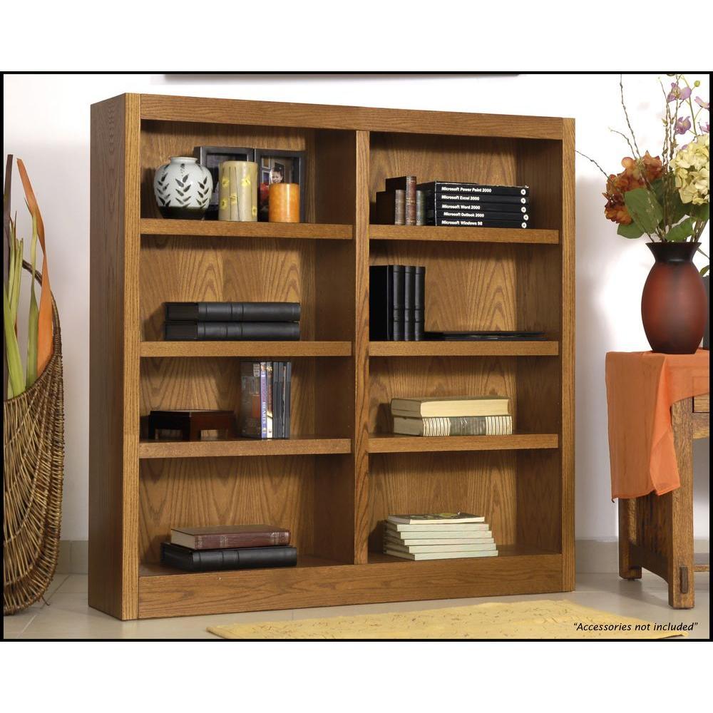 Concepts In Wood Midas Double Wide 8-Shelf Bookcase in Dry Oak