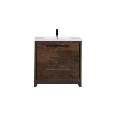 Dolce 35.5 in. W Bath Vanity in Rosewood with Reinforced Acrylic Vanity Top in White with White Basin