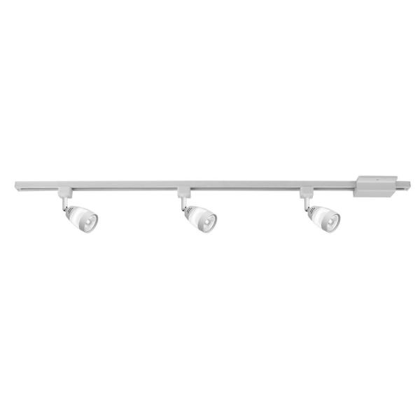 44 in. 3-Light White Integrated LED Linear Track Lighting Frosted Middle Glass Kit
