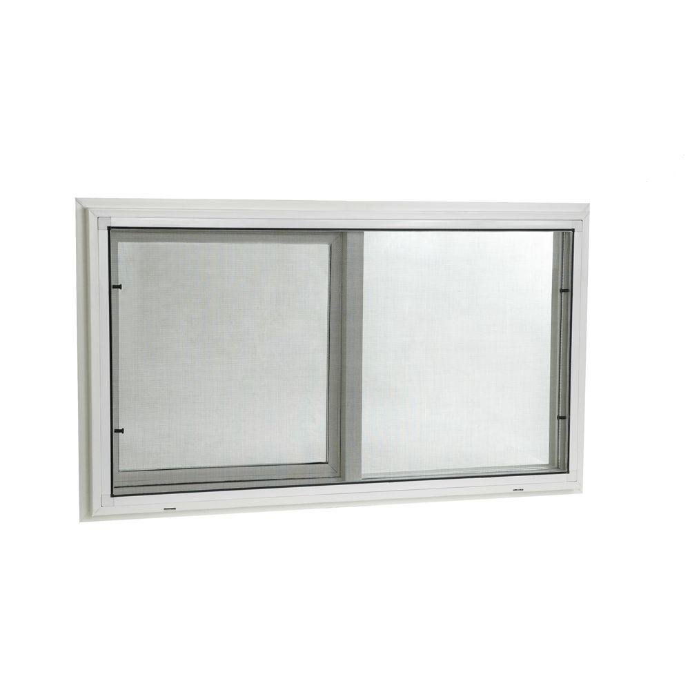 Tafco Windows 31 75 In X 21 75 In Left Hand Single Sliding Vinyl Window With Dual Pane Insulated Glass White