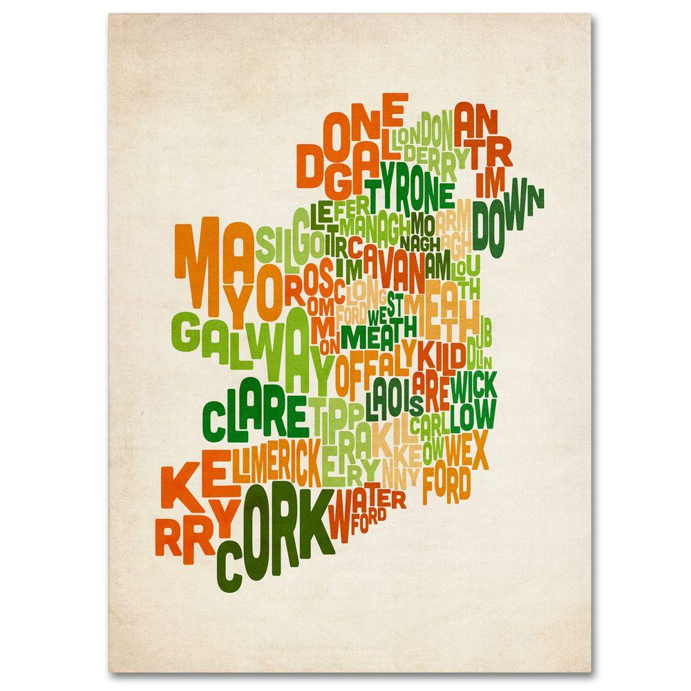 14 in. x 19 in. Ireland Text Map Canvas Art