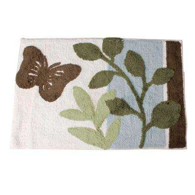Fluttering 20 in. x 30 in. Cotton Tufted Bath Rug in Natural