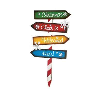 28 in. Wood Christmas Directions Stake