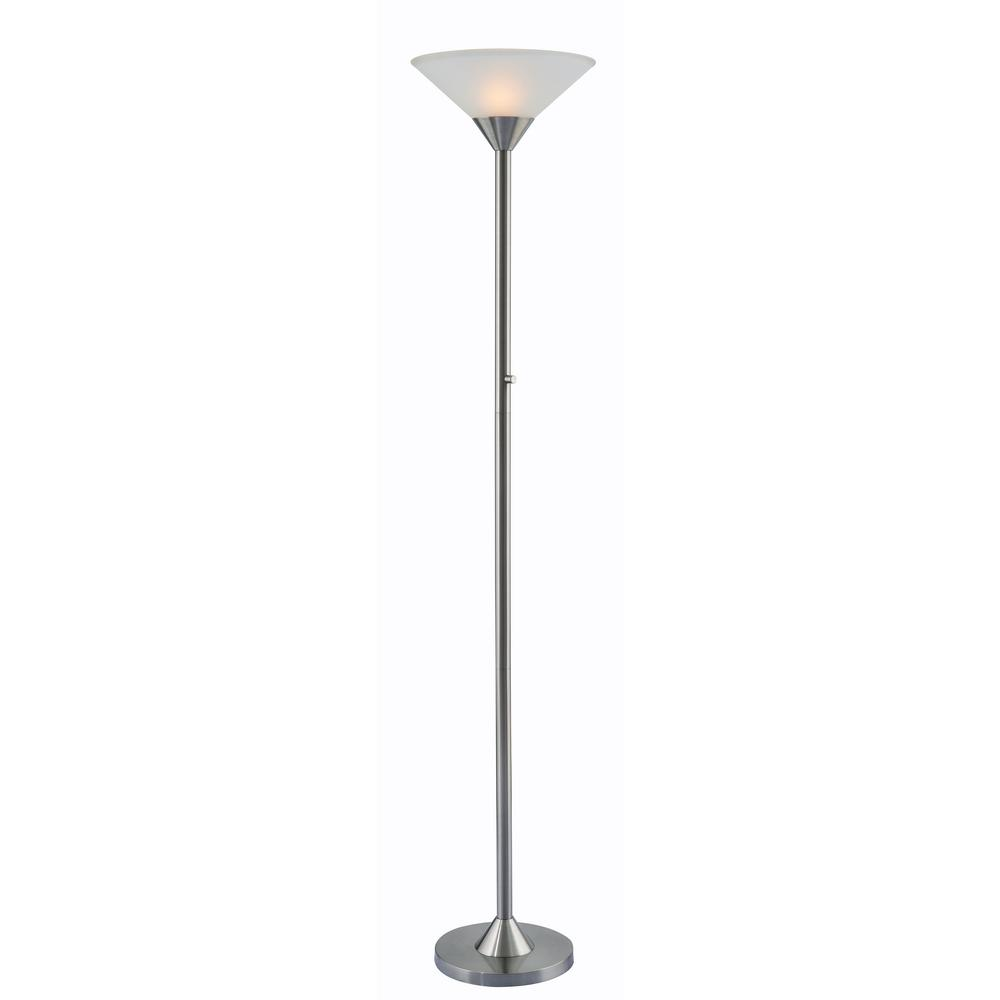 Kenroy Home Neil 70 In. Steel Torchiere Floor Lamp With White Glass Shade