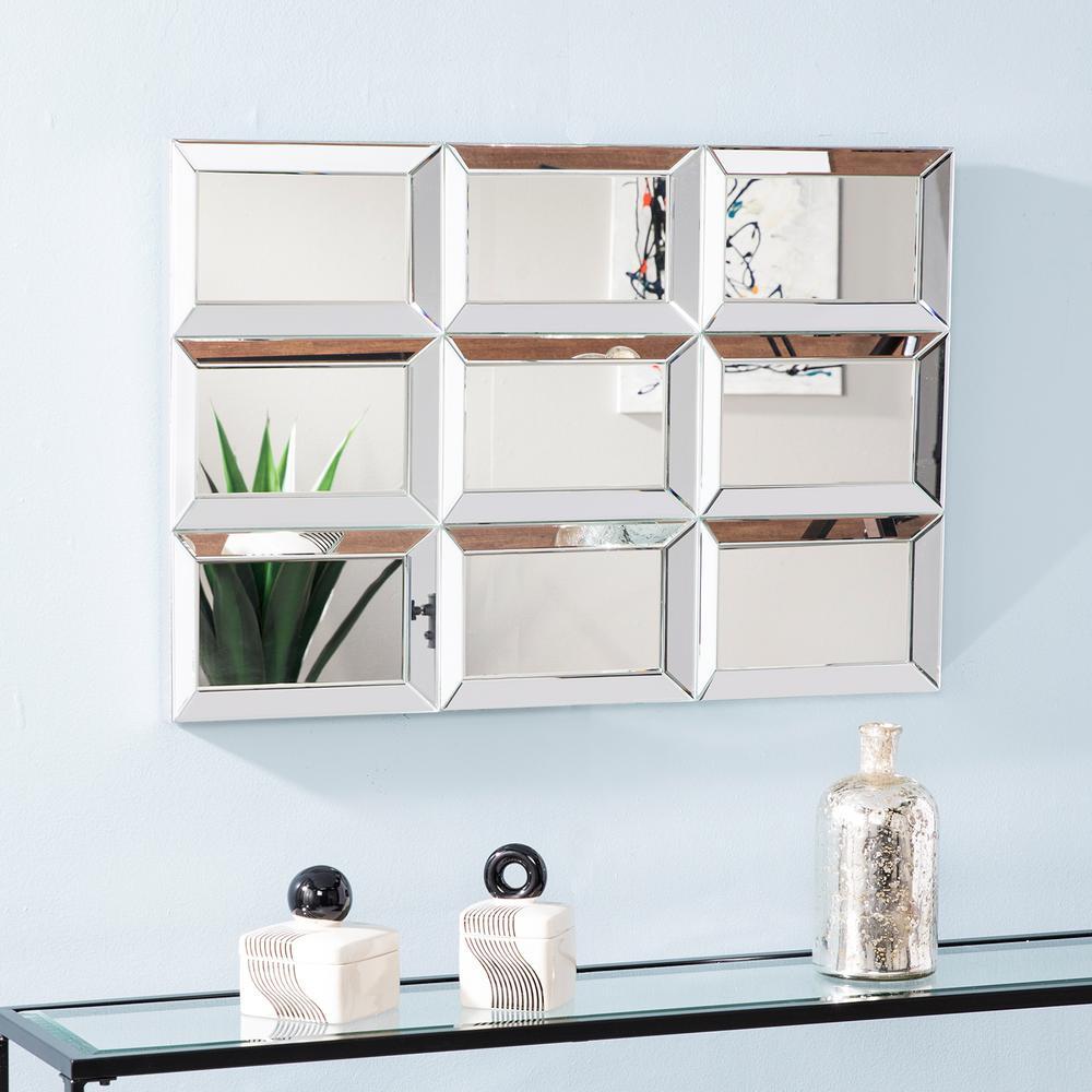 Orlenna Silver Finish Windowpane Decorative Mirror