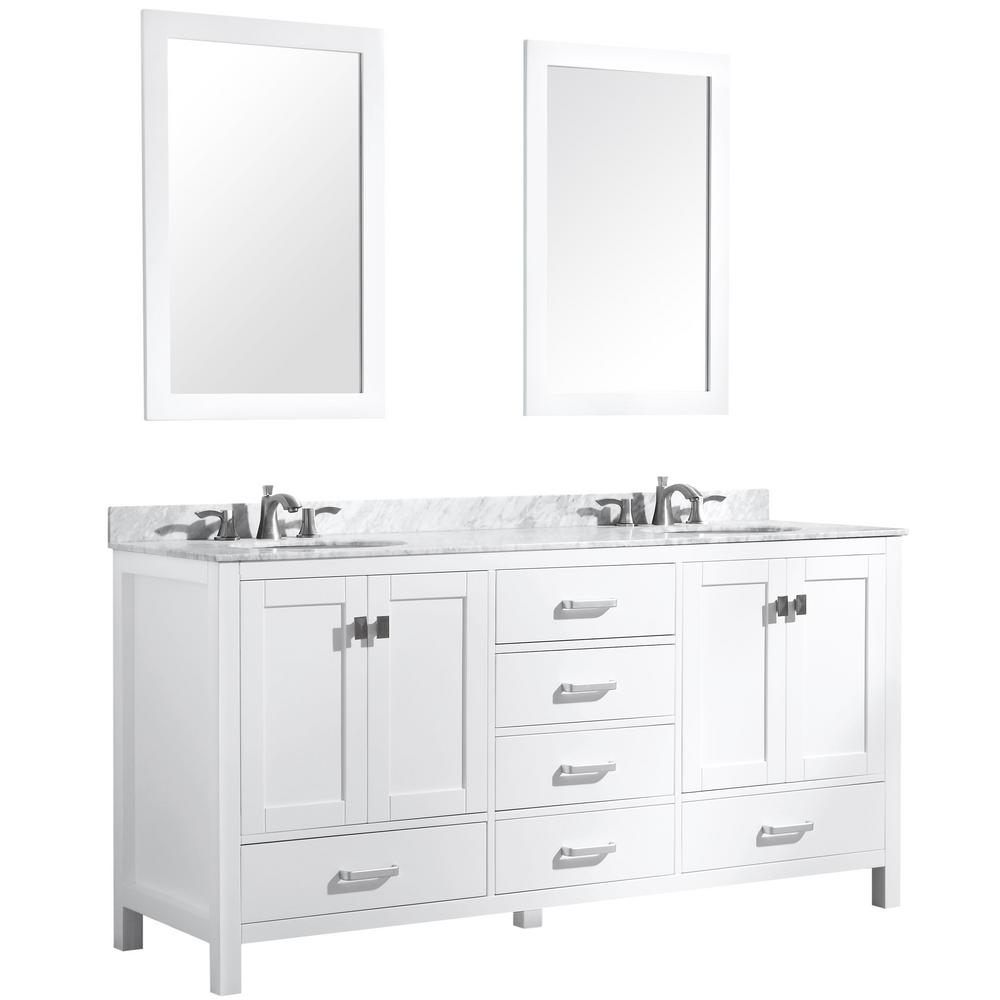 ANZZI Chateau 72 in. W x 36 in. H Bath Vanity in White with Marble Vanity Top in Carrara White with White Basins and Mirrors