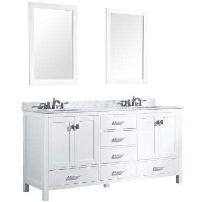 Chateau 72 in. W x 36 in. H Bath Vanity in White with Marble Vanity Top in Carrara White with White Basins and Mirrors