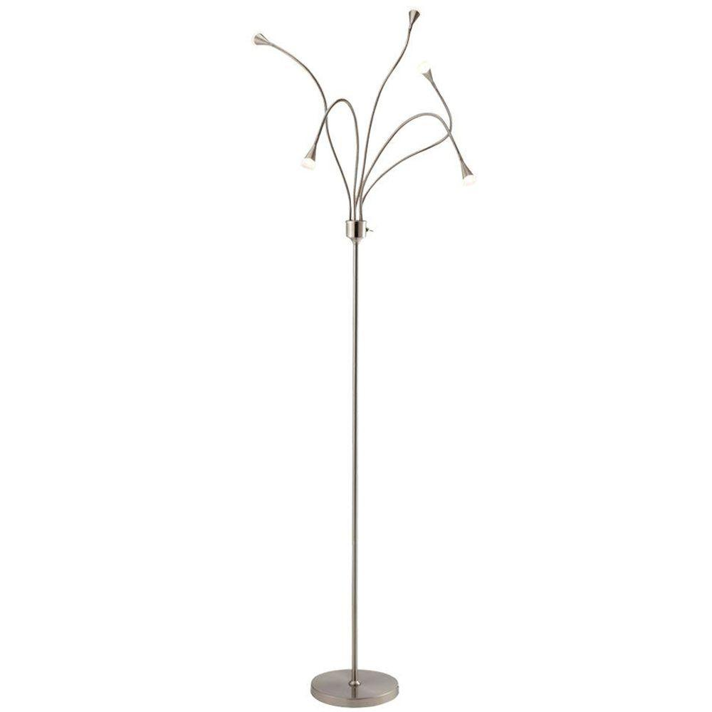 Adesso Firefly 73 in. H Satin Steel LED Adjustable Floor Lamp