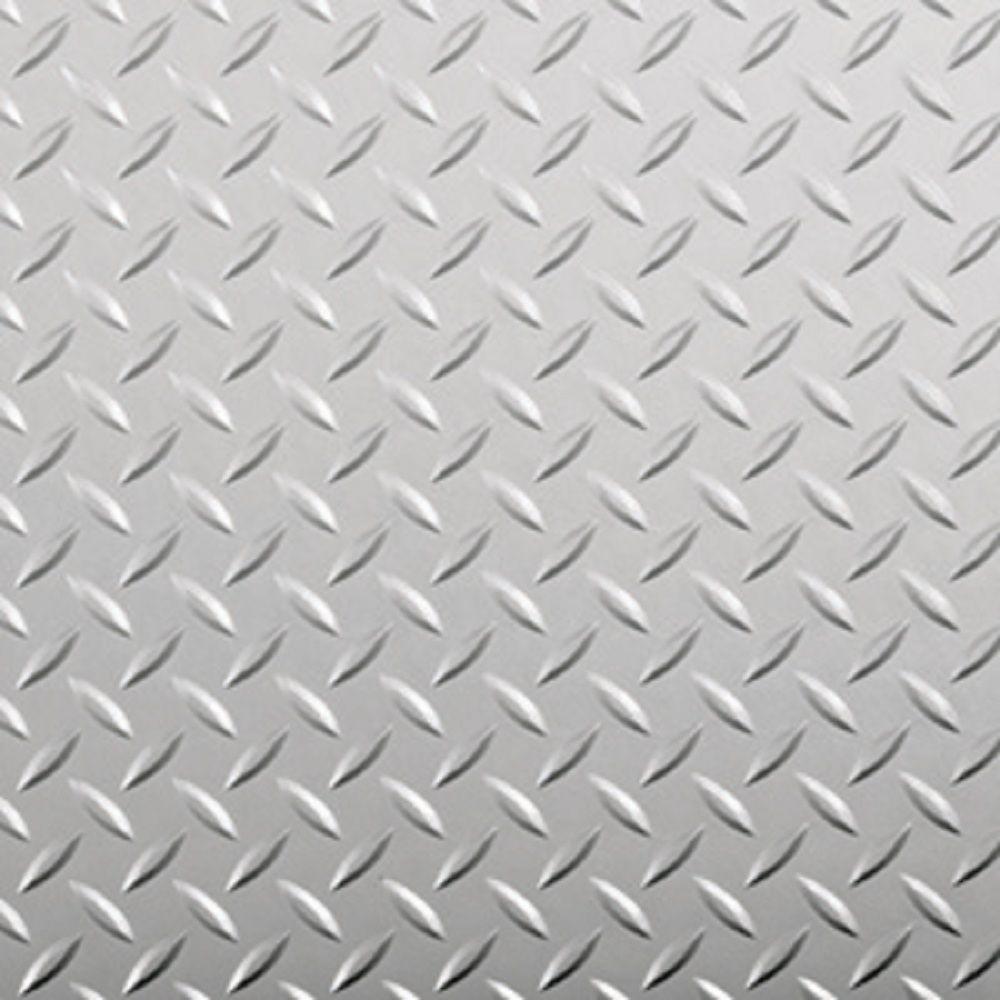 G-Floor 7.5 ft. x 17 ft. Diamond Tread Commercial Grade Metallic Silver Garage Floor Cover and Protector