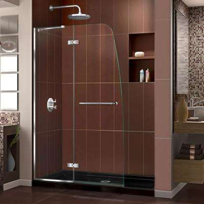 Aqua Ultra 60 in. x 74-3/4 in. Frameless Hinged Shower Door in Chrome with Base in Black