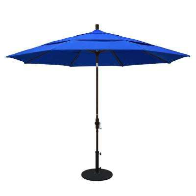 11 ft. Bronze Aluminum Pole Market Aluminum Ribs Crank Lift Outdoor Patio Umbrella in Pacific Blue Sunbrella
