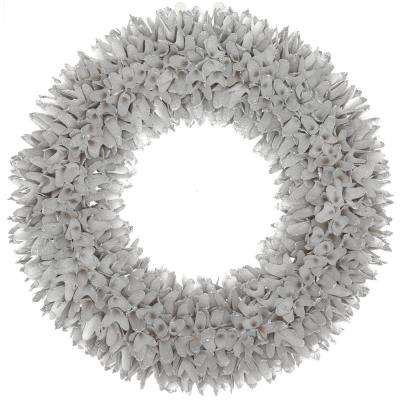 22 in. silver glitter shaved wood wreath