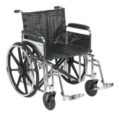 Sentra Extra Heavy Duty Wheelchair with Detachable Full Arms and Swing-Away Footrest