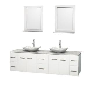 Wyndham Collection Centra 80 inch Double Vanity in White with Marble Vanity Top in Carrara White, Marble Sinks and 24... by Wyndham Collection