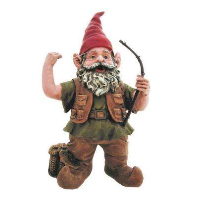 14 in. H Fisherman Gnome Holding Fishing Pole Home and Garden Gnome Statue