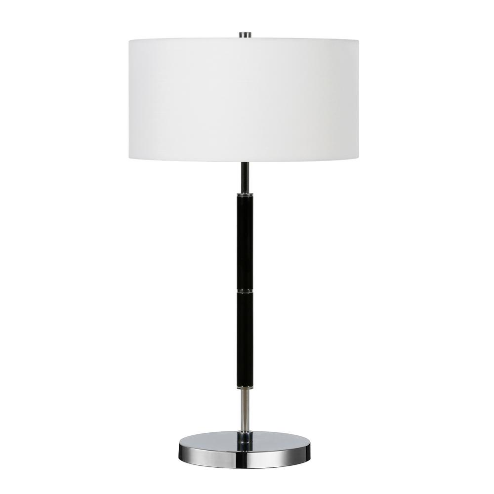 Hudson&Canal Simone 25 in. Polished Nickel and Black Table Lamp