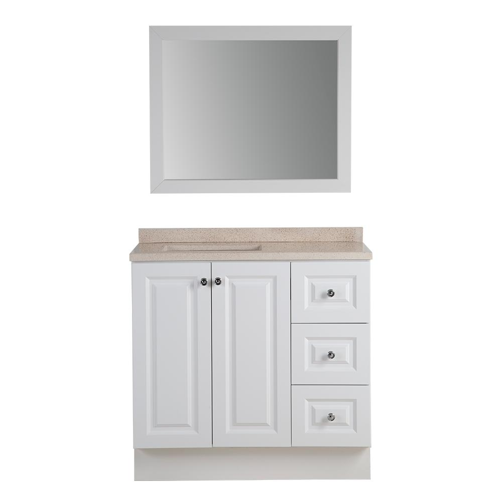 Bannister 36.5 in. W Bath Vanity in White with Colorpoint Vanity