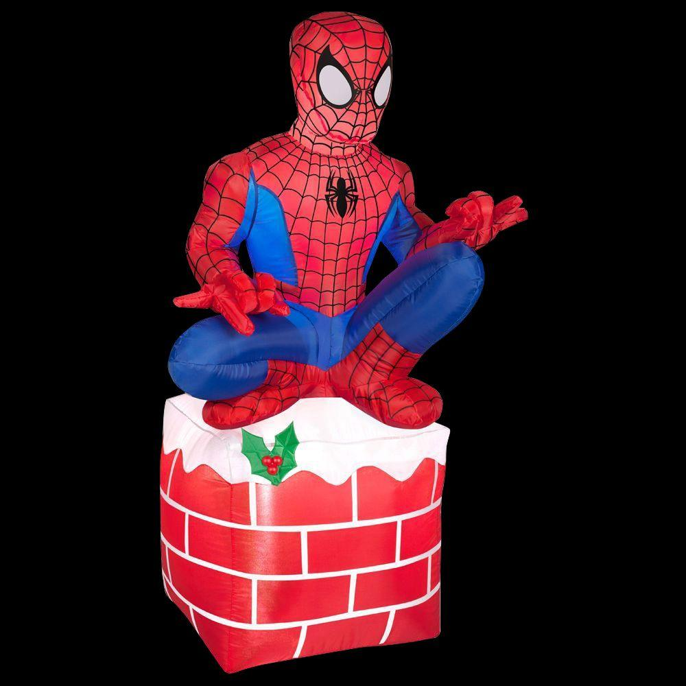 Gemmy 3 5 Ft Led Inflatable Outdoor Spider Man Sitting On