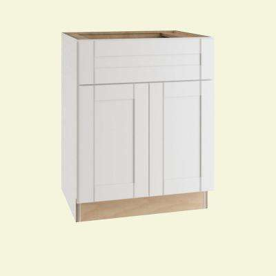 Vesper White Shaker Assembled Plywood 24 in. x 34.5 in. x 24 in. Base Kitchen Cabinet with Soft Close
