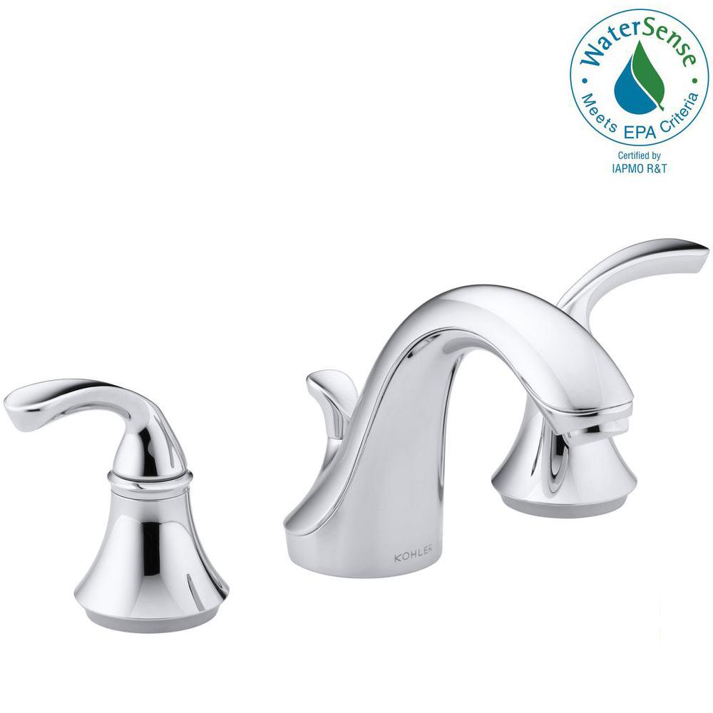 KOHLER Forte 8 in. Widespread 2-Handle Low-Arc Bathroom Faucet in Polished  Chrome with Sculpted Lever Handles
