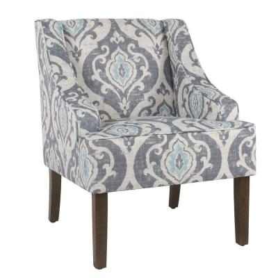 Benjara 33.25 in. H Multicolor Fabric Upholstered Wooden Accent Chair with Swooping Armrests and Damask Pattern Design,...