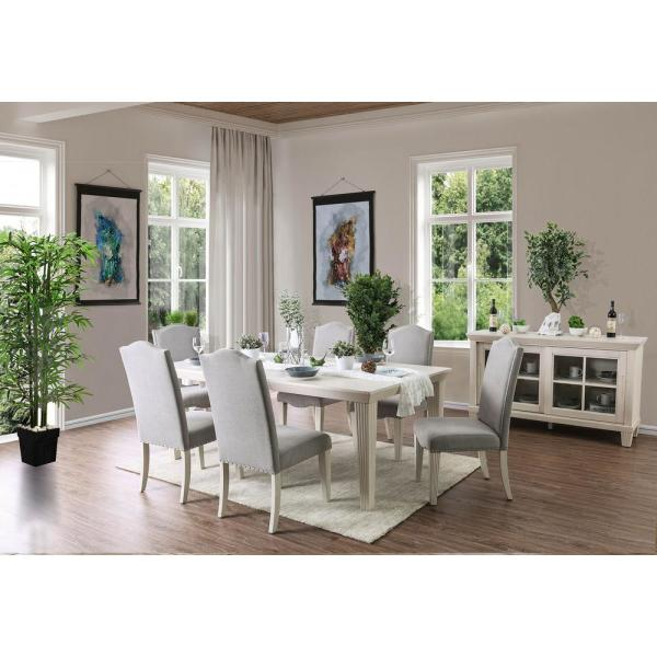 William S Home Furnishing Daniella Antique White Transitional Style Dining Table