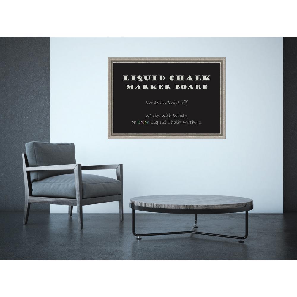 Amanti Art Bel Volto Silver Wood 39 inch W x 27 inch H Framed Liquid Chalk... by Amanti Art