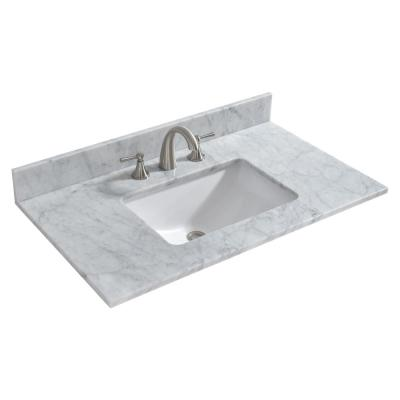 Bourne 37 in. W x 22 in. D Single Basin Engineered Quartz Marble Vanity Top in Carrara White with White Basin
