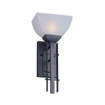 1light antique bronze wall sconce with white linen glass